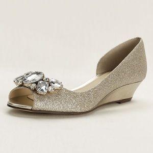 Nina Crystal wedding Peep Toe Wedge